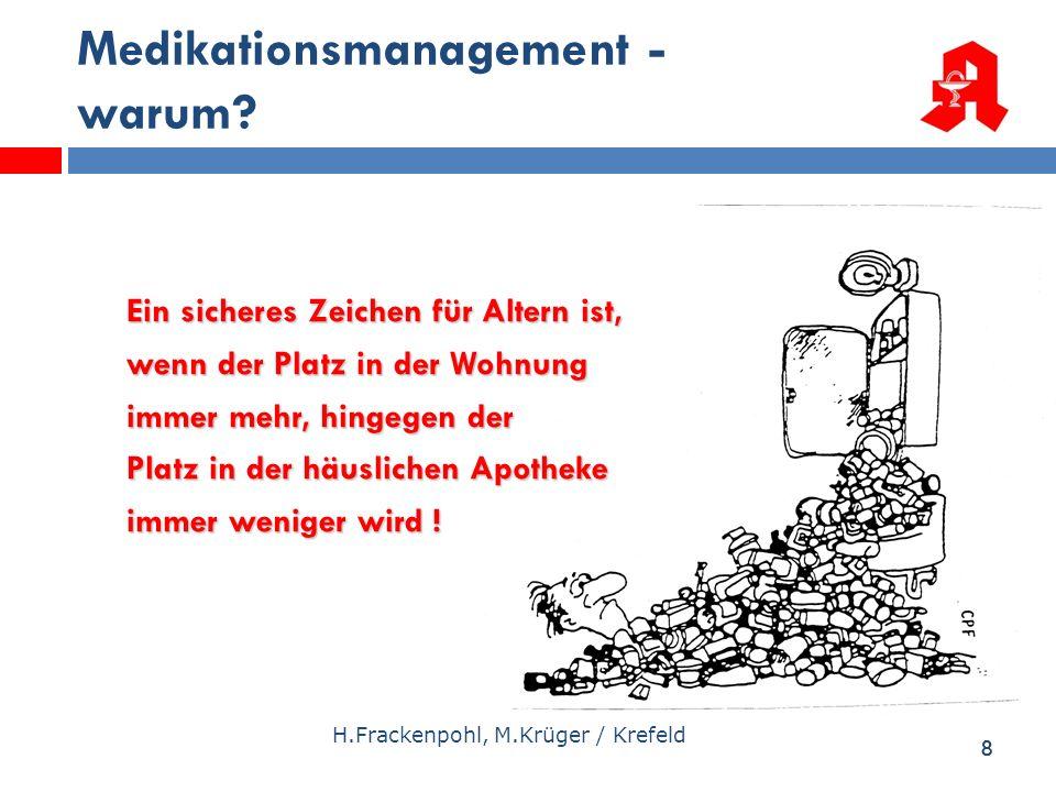 88 Medikationsmanagement - warum? H.Frackenpohl, M.Krüger / Krefeld Ein sicheres Zeichen für Altern ist, wenn der Platz in der Wohnung immer mehr, hin