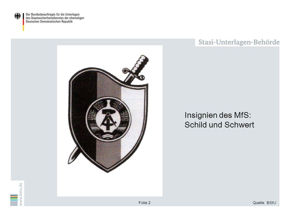 Folie 2Quelle: BStU Insignien des MfS: Schild und Schwert