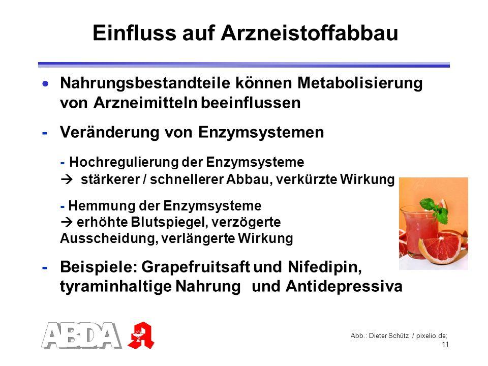 11 Einfluss auf Arzneistoffabbau Nahrungsbestandteile können Metabolisierung von Arzneimitteln beeinflussen - Veränderung von Enzymsystemen - Hochregu