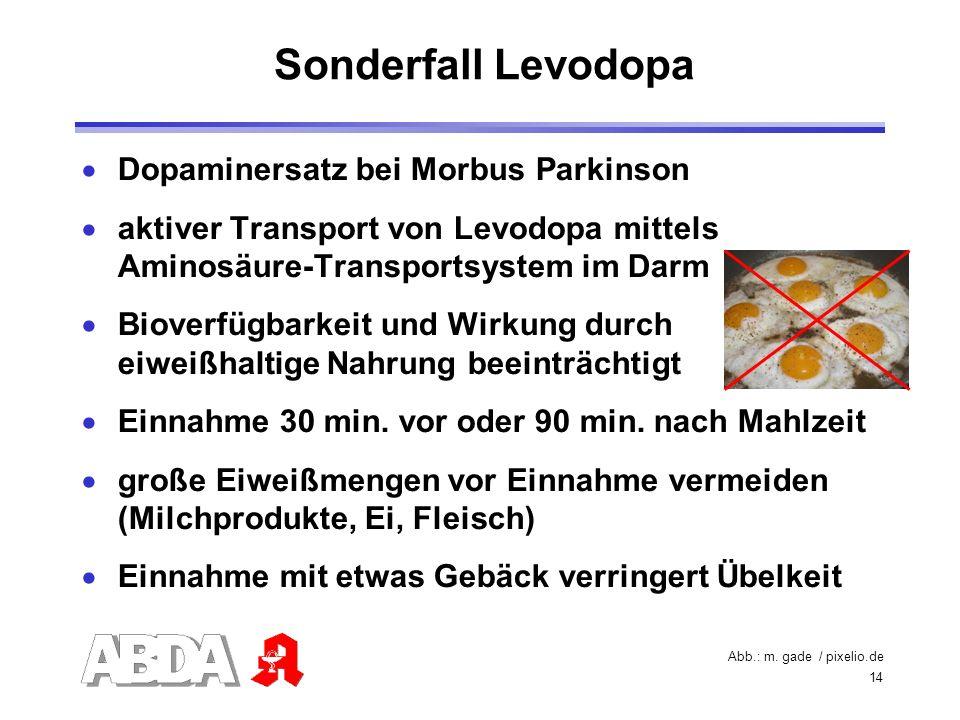 14 Dopaminersatz bei Morbus Parkinson aktiver Transport von Levodopa mittels Aminosäure-Transportsystem im Darm Bioverfügbarkeit und Wirkung durch eiw