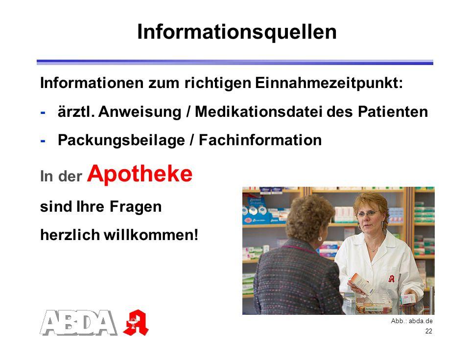 22 Informationen zum richtigen Einnahmezeitpunkt: -ärztl. Anweisung / Medikationsdatei des Patienten -Packungsbeilage / Fachinformation In der Apothek