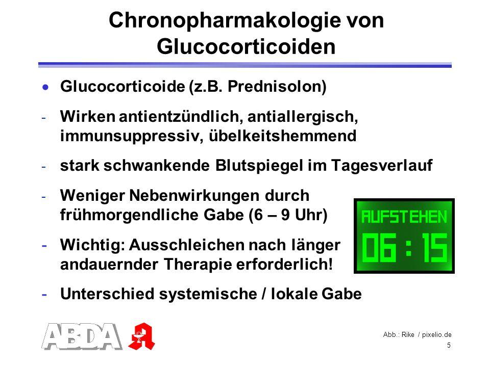5 Glucocorticoide (z.B. Prednisolon) - Wirken antientzündlich, antiallergisch, immunsuppressiv, übelkeitshemmend - stark schwankende Blutspiegel im Ta