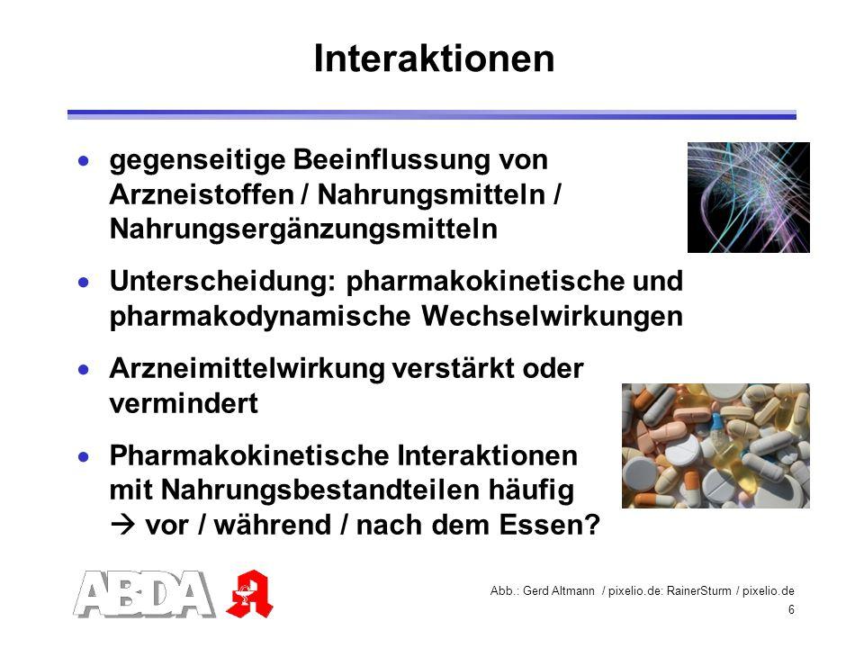 6 gegenseitige Beeinflussung von Arzneistoffen / Nahrungsmitteln / Nahrungsergänzungsmitteln Unterscheidung: pharmakokinetische und pharmakodynamische