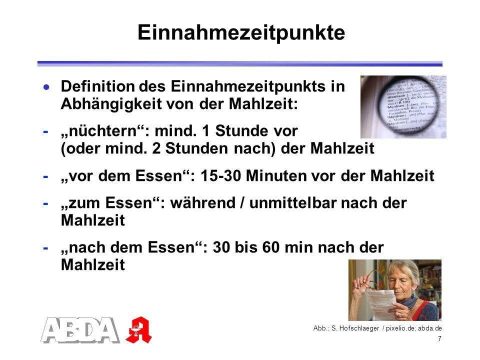 7 Einnahmezeitpunkte Definition des Einnahmezeitpunkts in Abhängigkeit von der Mahlzeit: - nüchtern: mind. 1 Stunde vor (oder mind. 2 Stunden nach) de