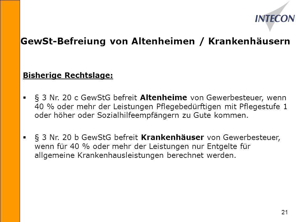 21 GewSt-Befreiung von Altenheimen / Krankenhäusern Bisherige Rechtslage: § 3 Nr.