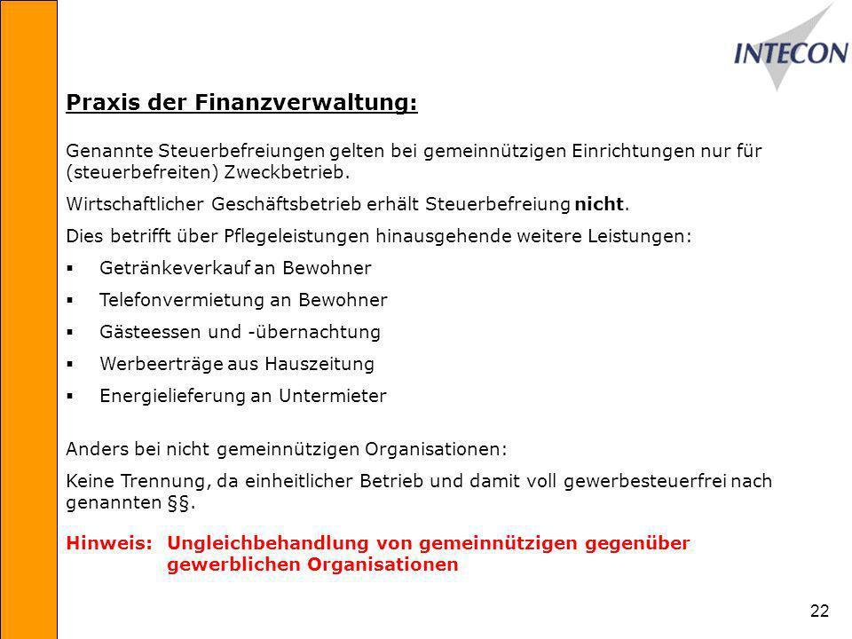 22 Praxis der Finanzverwaltung: Genannte Steuerbefreiungen gelten bei gemeinnützigen Einrichtungen nur für (steuerbefreiten) Zweckbetrieb.