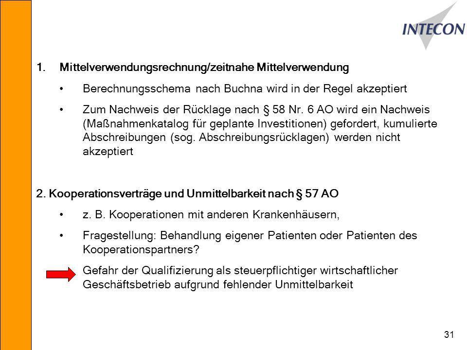 31 1.Mittelverwendungsrechnung/zeitnahe Mittelverwendung Berechnungsschema nach Buchna wird in der Regel akzeptiert Zum Nachweis der Rücklage nach § 58 Nr.