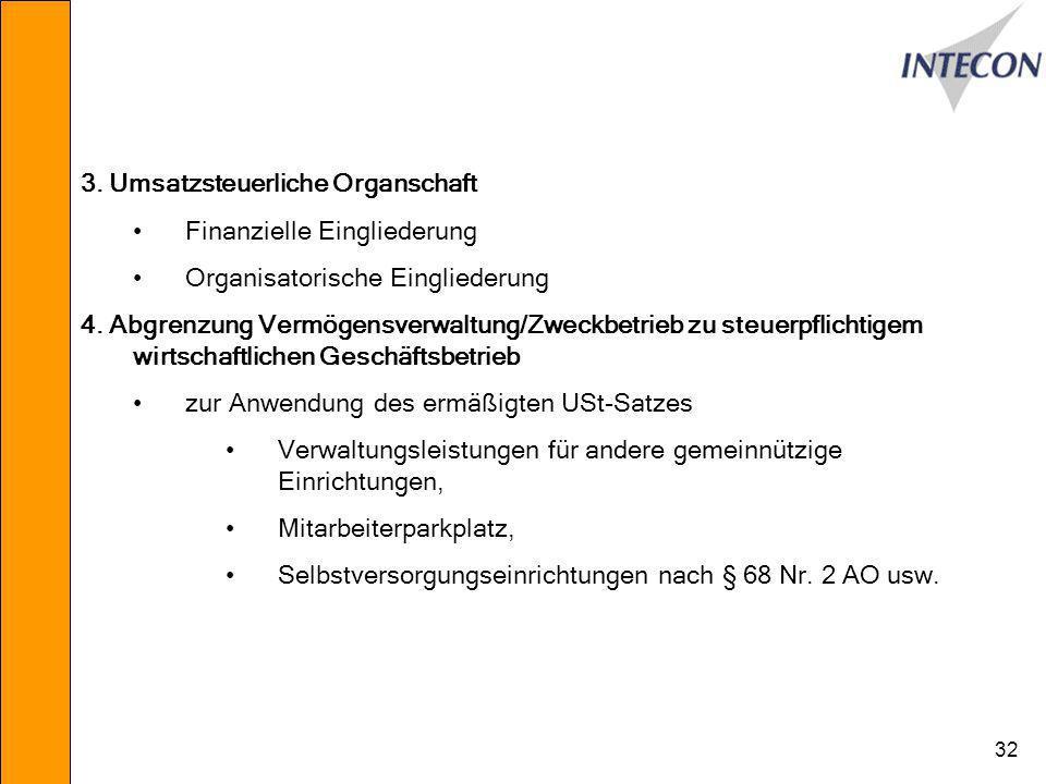 32 3.Umsatzsteuerliche Organschaft Finanzielle Eingliederung Organisatorische Eingliederung 4.