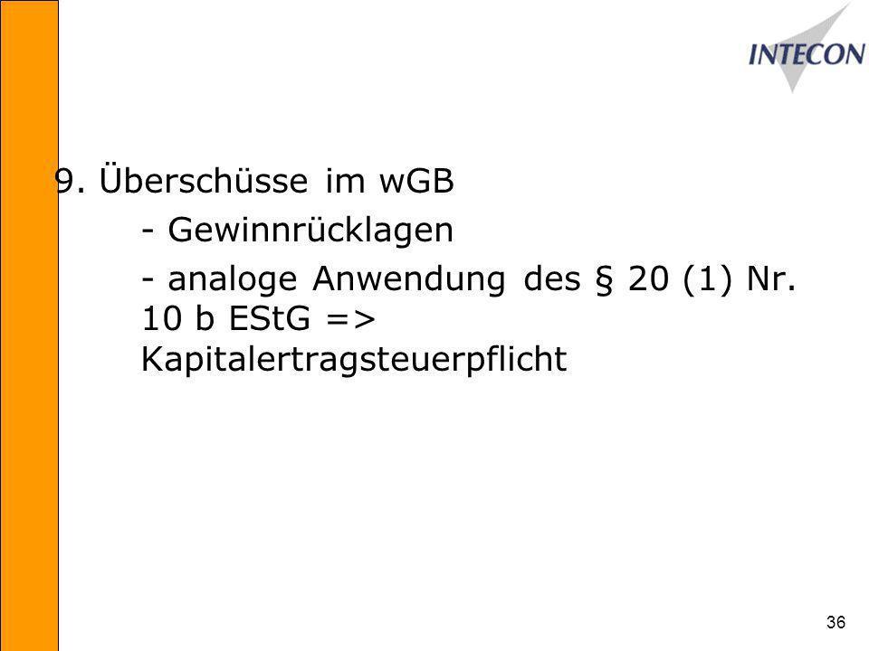 36 9.Überschüsse im wGB - Gewinnrücklagen - analoge Anwendung des § 20 (1) Nr.