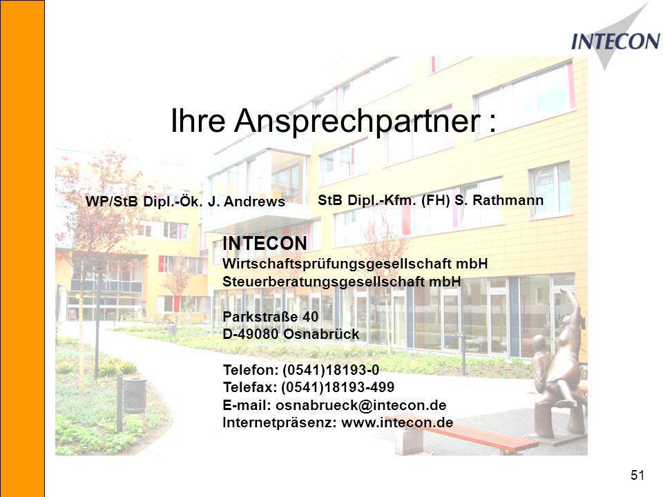 51 INTECON Wirtschaftsprüfungsgesellschaft mbH Steuerberatungsgesellschaft mbH Parkstraße 40 D-49080 Osnabrück Telefon: (0541)18193-0 Telefax: (0541)18193-499 E-mail: osnabrueck@intecon.de Internetpräsenz: www.intecon.de Ihre Ansprechpartner : WP/StB Dipl.-Ök.
