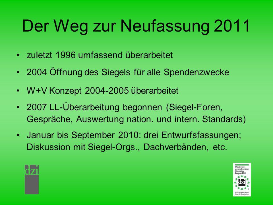 Der Weg zur Neufassung 2011 zuletzt 1996 umfassend überarbeitet 2004 Öffnung des Siegels für alle Spendenzwecke W+V Konzept 2004-2005 überarbeitet 200