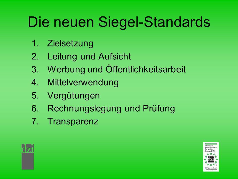 Die neuen Siegel-Standards 1.Zielsetzung 2.Leitung und Aufsicht 3.Werbung und Öffentlichkeitsarbeit 4.Mittelverwendung 5.Vergütungen 6.Rechnungslegung und Prüfung 7.Transparenz
