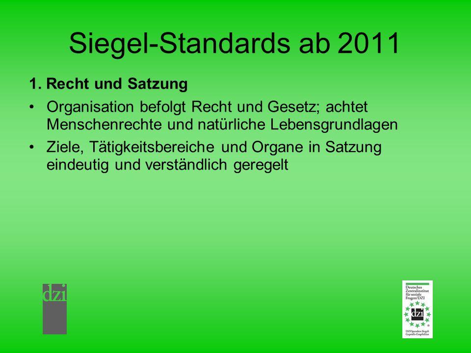 Siegel-Standards ab 2011 1. Recht und Satzung Organisation befolgt Recht und Gesetz; achtet Menschenrechte und natürliche Lebensgrundlagen Ziele, Täti