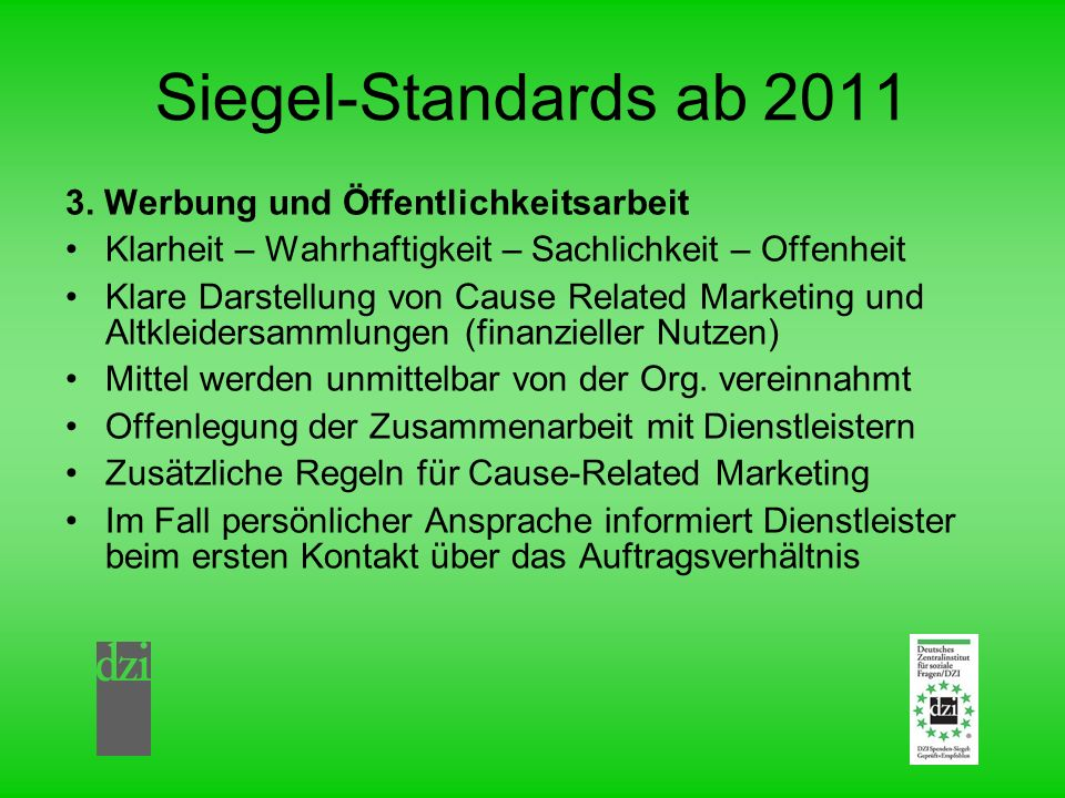 Siegel-Standards ab 2011 3.