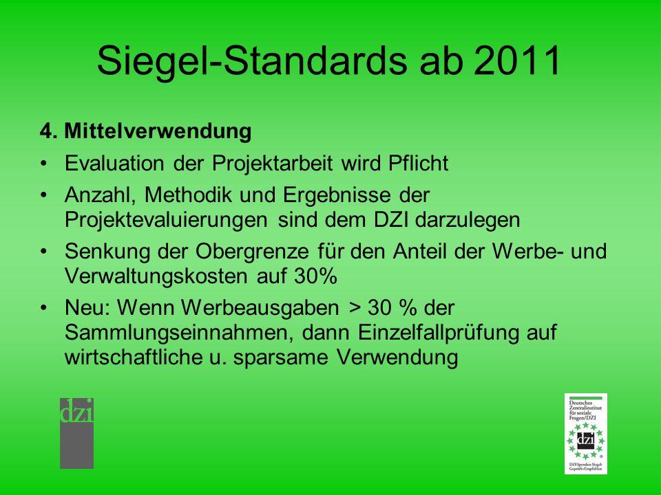Siegel-Standards ab 2011 4. Mittelverwendung Evaluation der Projektarbeit wird Pflicht Anzahl, Methodik und Ergebnisse der Projektevaluierungen sind d