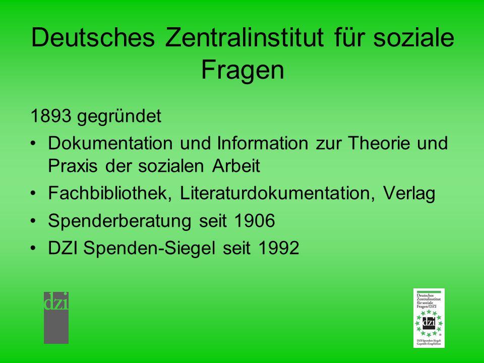 Deutsches Zentralinstitut für soziale Fragen 1893 gegründet Dokumentation und Information zur Theorie und Praxis der sozialen Arbeit Fachbibliothek, L