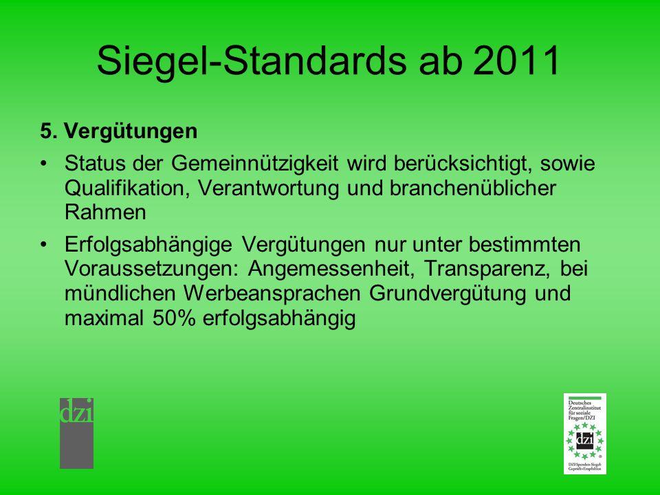Siegel-Standards ab 2011 5. Vergütungen Status der Gemeinnützigkeit wird berücksichtigt, sowie Qualifikation, Verantwortung und branchenüblicher Rahme