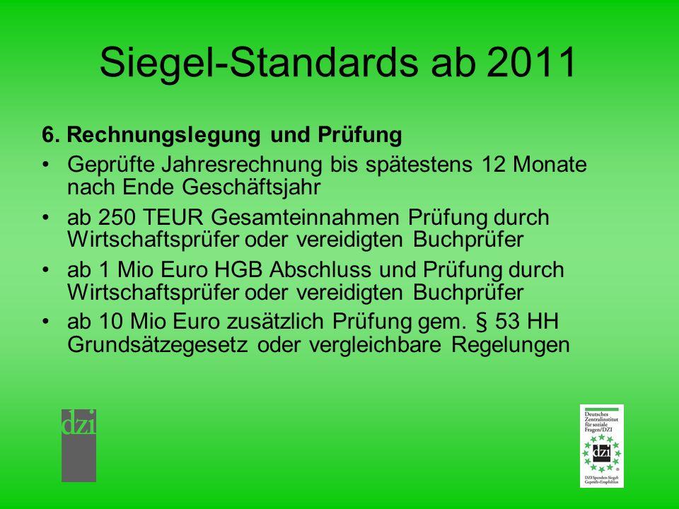 Siegel-Standards ab 2011 6. Rechnungslegung und Prüfung Geprüfte Jahresrechnung bis spätestens 12 Monate nach Ende Geschäftsjahr ab 250 TEUR Gesamtein