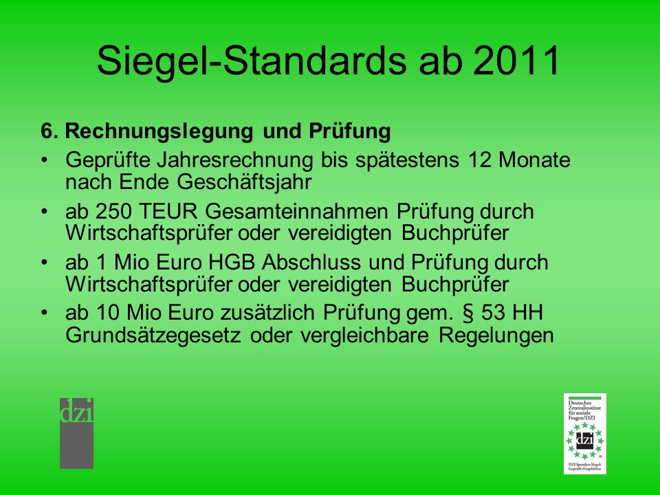 Siegel-Standards ab 2011 6.