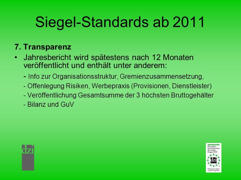Siegel-Standards ab 2011 7. Transparenz Jahresbericht wird spätestens nach 12 Monaten veröffentlicht und enthält unter anderem: - Info zur Organisatio