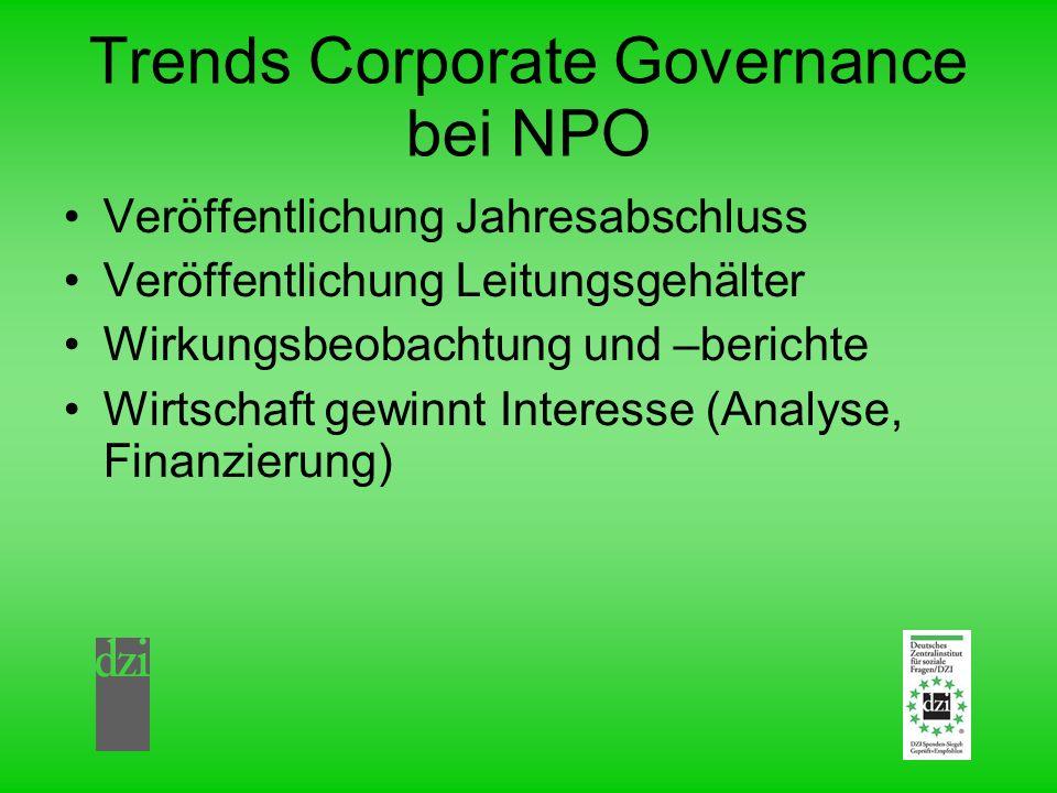 Trends Corporate Governance bei NPO Veröffentlichung Jahresabschluss Veröffentlichung Leitungsgehälter Wirkungsbeobachtung und –berichte Wirtschaft gewinnt Interesse (Analyse, Finanzierung)