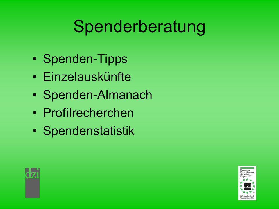 Spenderberatung Spenden-Tipps Einzelauskünfte Spenden-Almanach Profilrecherchen Spendenstatistik