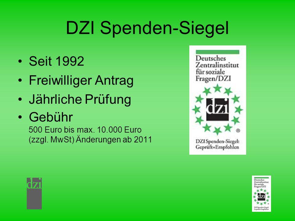DZI Spenden-Siegel Seit 1992 Freiwilliger Antrag Jährliche Prüfung Gebühr 500 Euro bis max. 10.000 Euro (zzgl. MwSt) Änderungen ab 2011