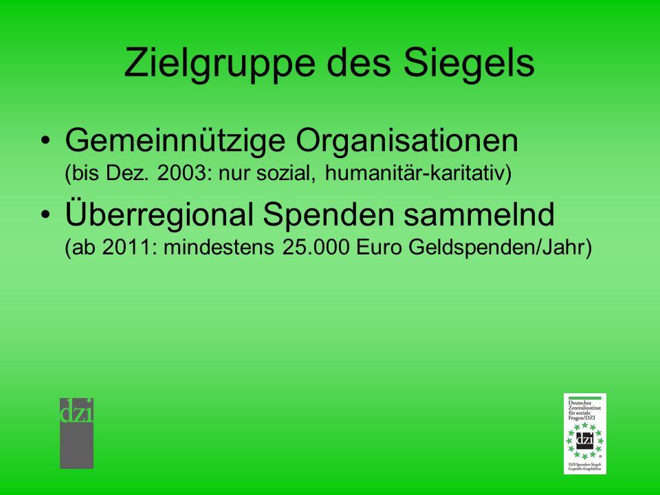 Zielgruppe des Siegels Gemeinnützige Organisationen (bis Dez. 2003: nur sozial, humanitär-karitativ) Überregional Spenden sammelnd (ab 2011: mindesten