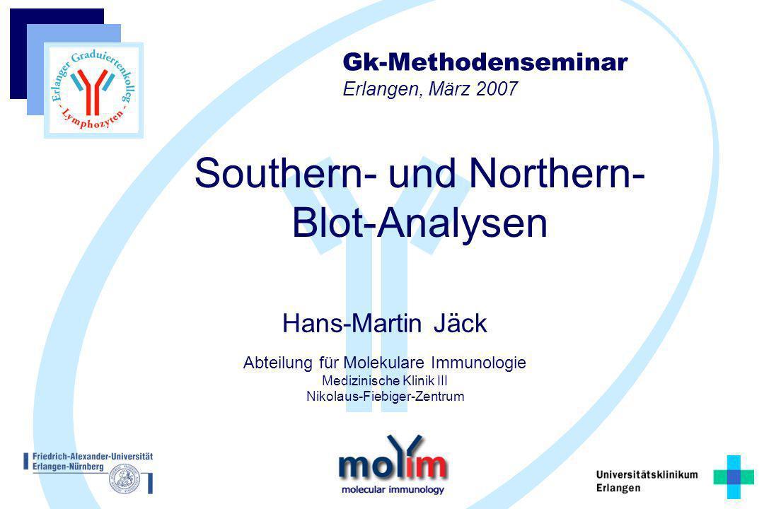 Hans-Martin Jäck Abteilung für Molekulare Immunologie Medizinische Klinik III Nikolaus-Fiebiger-Zentrum Southern- und Northern- Blot-Analysen Gk-Metho