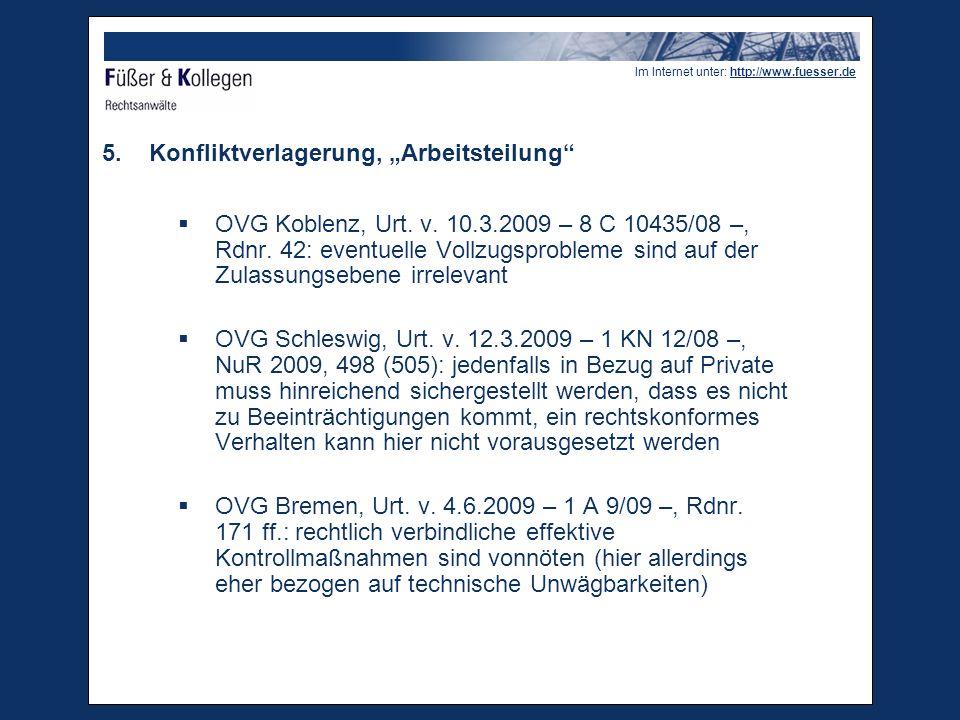 Im Internet unter: http://www.fuesser.de 5.Konfliktverlagerung, Arbeitsteilung OVG Koblenz, Urt.