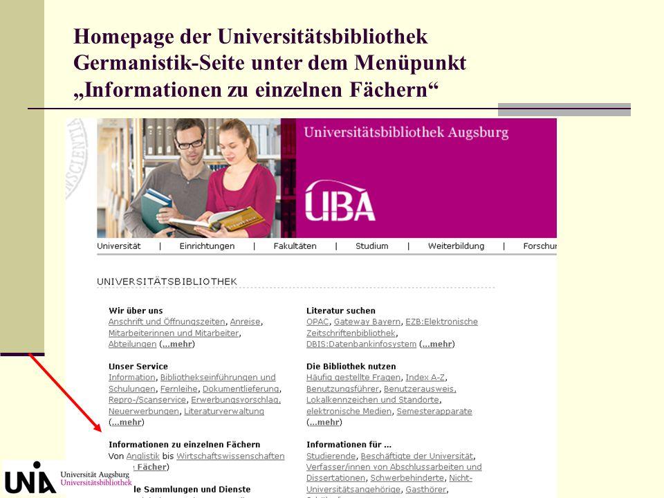 Homepage der Universitätsbibliothek Benutzungsführer unter dem Menüpunkt Die Bibliothek nutzen
