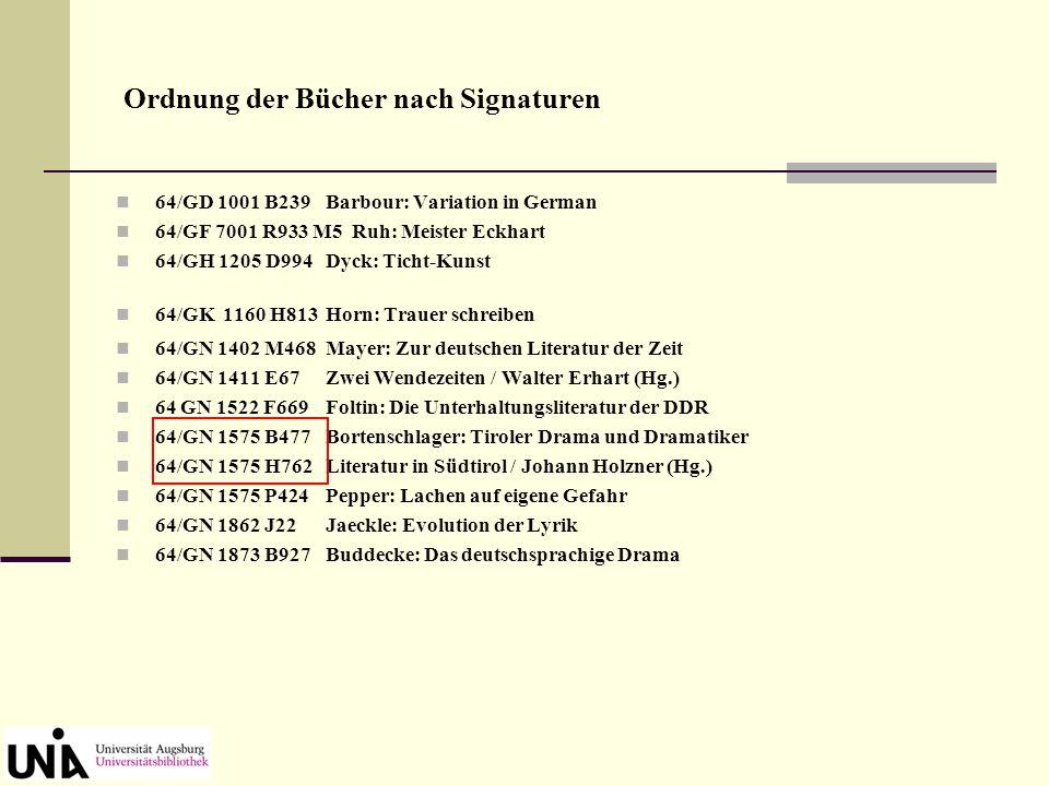 Ordnung der Bücher nach Signaturen 64/GD 1001 B239Barbour: Variation in German 64/GF 7001 R933 M5 Ruh: Meister Eckhart 64/GH 1205 D994Dyck: Ticht-Kuns
