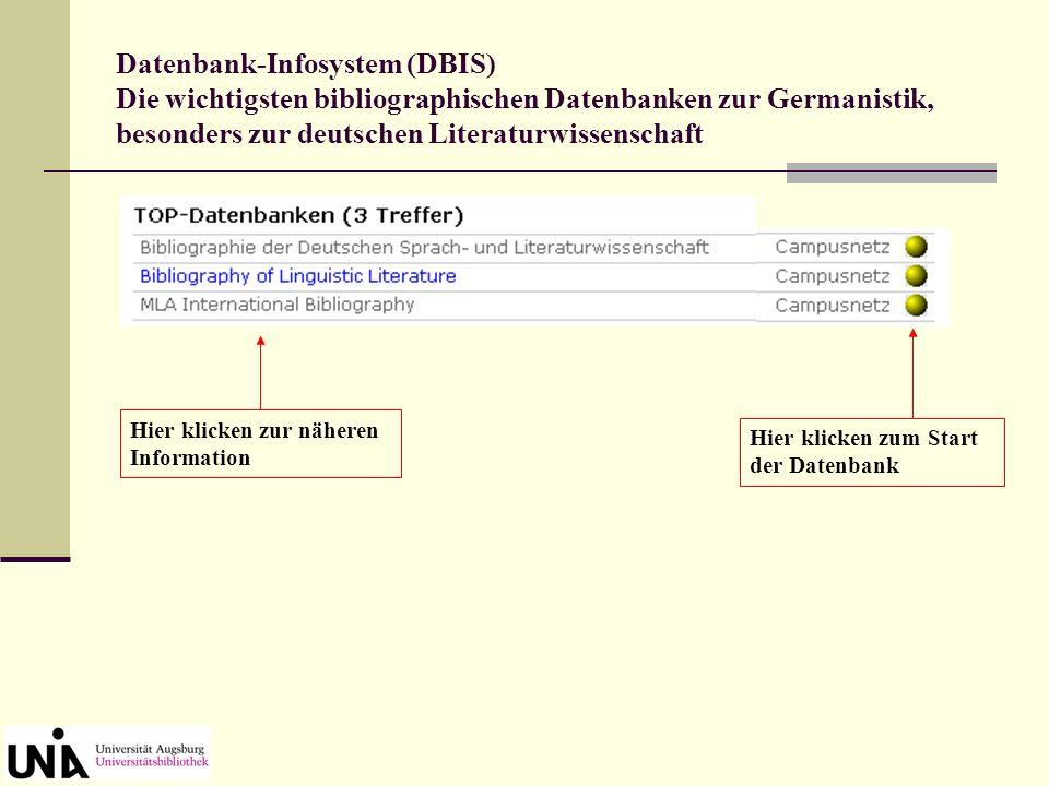 Datenbank-Infosystem (DBIS) ausgewählt: Fachgebiet Germanistik
