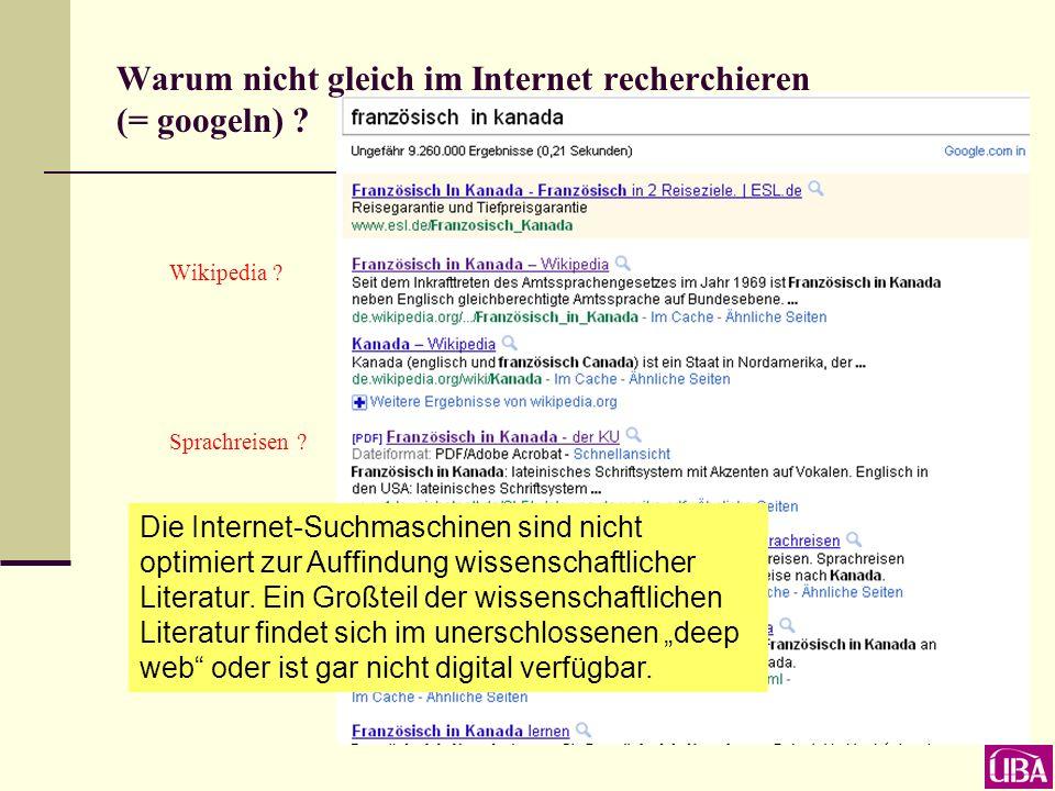Warum nicht gleich im Internet recherchieren (= googeln) ? ?