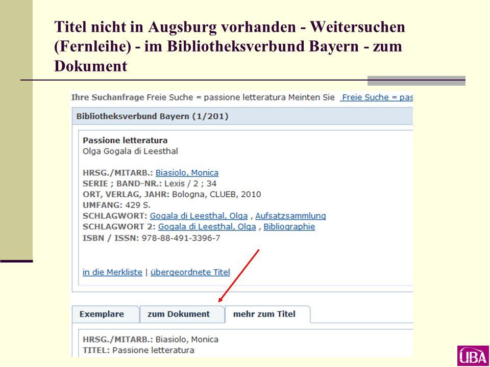 Titel nicht in Augsburg vorhanden - Weitersuchen (Fernleihe) - im Bibliotheksverbund Bayern - zum Dokument