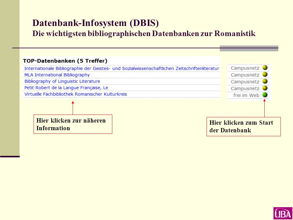 Datenbank-Infosystem (DBIS) ausgewählt: Fachgebiet Romanistik