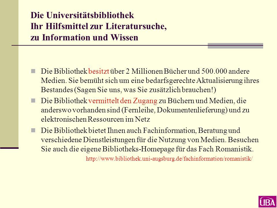 Datenbank-Infosystem (DBIS) Die wichtigsten bibliographischen Datenbanken zur Romanistik Hier klicken zur näheren Information Hier klicken zum Start der Datenbank