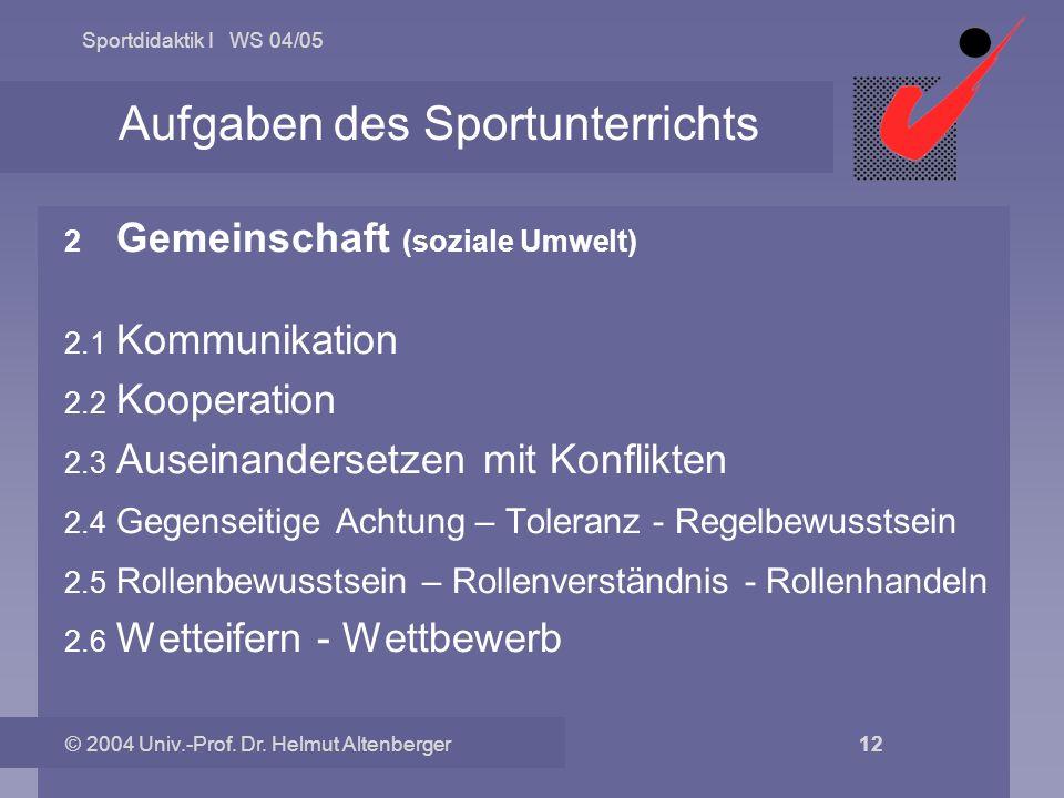 Sportdidaktik I WS 04/05 © 2004 Univ.-Prof. Dr. Helmut Altenberger 12 Aufgaben des Sportunterrichts 2.0 Gemeinschaft (soziale Umwelt) 2.1 Kommunikatio