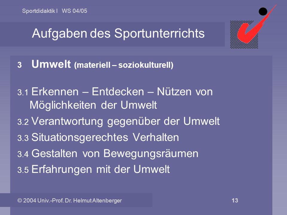 Sportdidaktik I WS 04/05 © 2004 Univ.-Prof. Dr. Helmut Altenberger 13 Aufgaben des Sportunterrichts 3.0 Umwelt (materiell – soziokulturell) 3.1 Erkenn