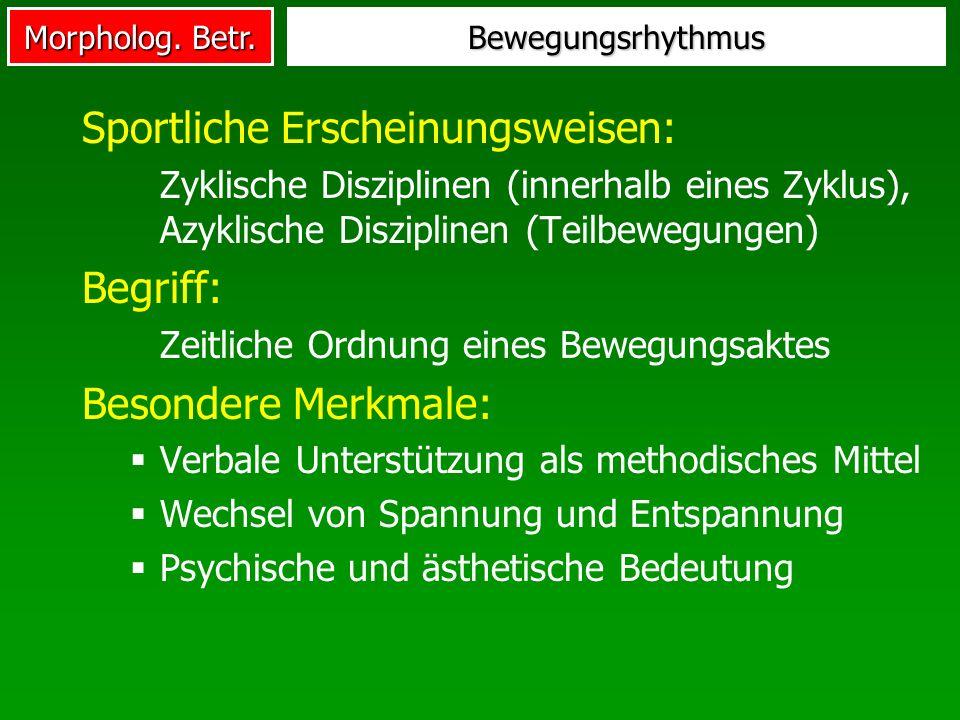 Morpholog. Betr. Bewegungsrhythmus Sportliche Erscheinungsweisen: Zyklische Disziplinen (innerhalb eines Zyklus), Azyklische Disziplinen (Teilbewegung
