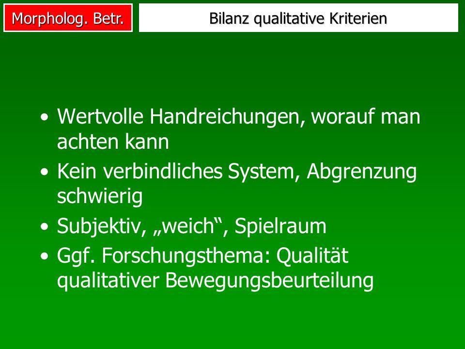 Morpholog. Betr. Bilanz qualitative Kriterien Wertvolle Handreichungen, worauf man achten kann Kein verbindliches System, Abgrenzung schwierig Subjekt