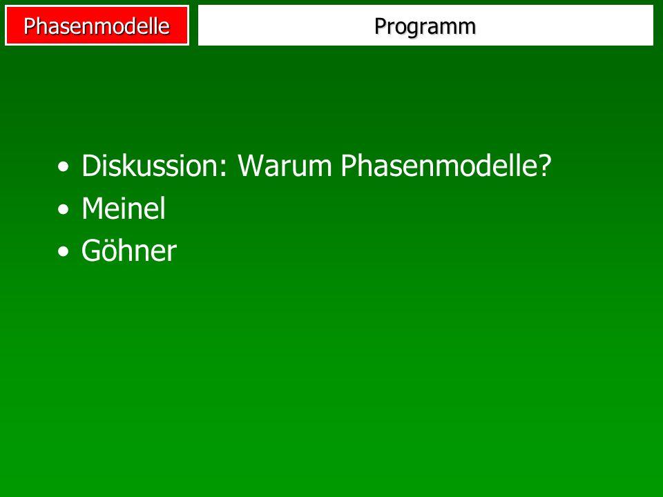 PhasenmodelleProgramm Diskussion: Warum Phasenmodelle? Meinel Göhner