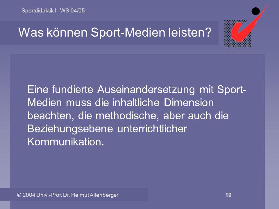 Sportdidaktik I WS 04/05 © 2004 Univ.-Prof. Dr. Helmut Altenberger 10 Was können Sport-Medien leisten? Eine fundierte Auseinandersetzung mit Sport- Me
