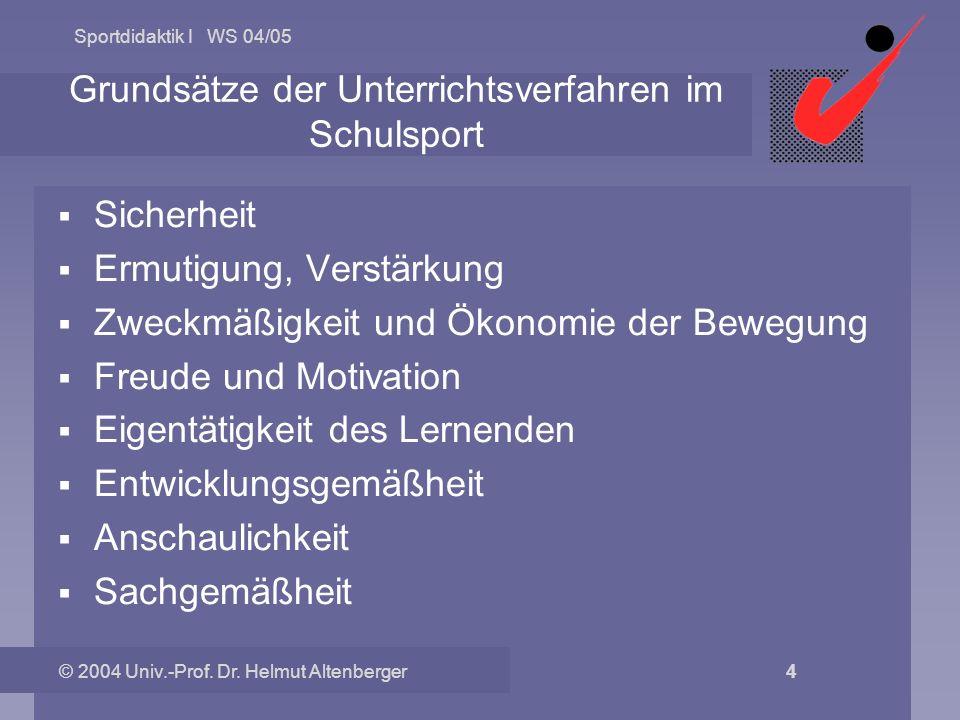 Sportdidaktik I WS 04/05 © 2004 Univ.-Prof. Dr. Helmut Altenberger 4 Grundsätze der Unterrichtsverfahren im Schulsport Sicherheit Ermutigung, Verstärk