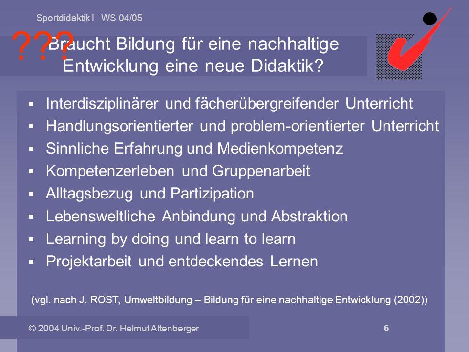 Sportdidaktik I WS 04/05 © 2004 Univ.-Prof. Dr. Helmut Altenberger 6 Braucht Bildung für eine nachhaltige Entwicklung eine neue Didaktik? Interdiszipl