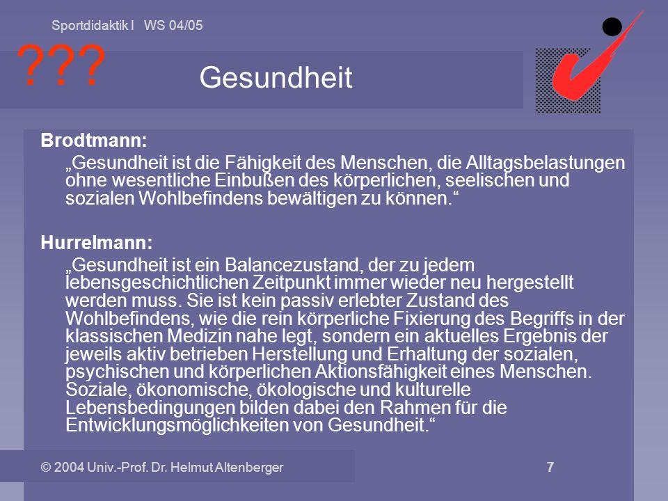 Sportdidaktik I WS 04/05 © 2004 Univ.-Prof. Dr. Helmut Altenberger 7 Gesundheit Brodtmann: Gesundheit ist die Fähigkeit des Menschen, die Alltagsbelas