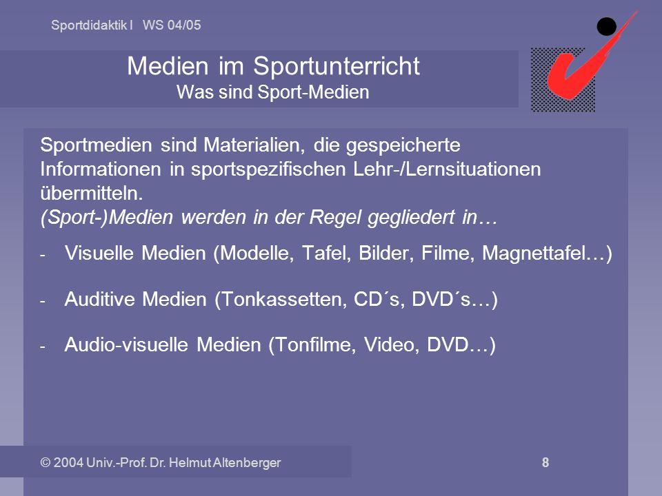 Sportdidaktik I WS 04/05 © 2004 Univ.-Prof. Dr. Helmut Altenberger 8 Medien im Sportunterricht Was sind Sport-Medien Sportmedien sind Materialien, die