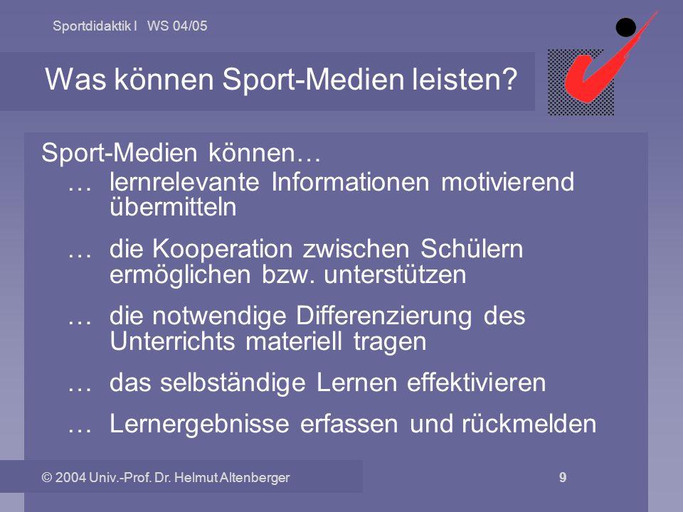 Sportdidaktik I WS 04/05 © 2004 Univ.-Prof. Dr. Helmut Altenberger 9 Was können Sport-Medien leisten? Sport-Medien können… … lernrelevante Information