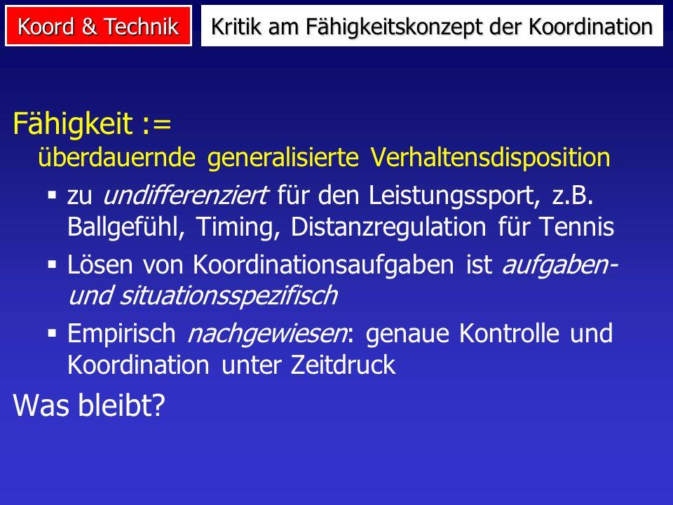 Koord & Technik An den Anforderungen des Leistungssports orientiert: Kopplungsfähigkeit Umstellungsfähigkeit Ergänzung von Blume (1977)