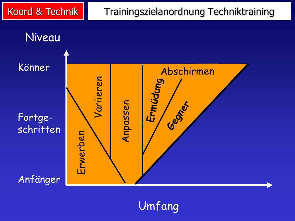 Koord & Technik Methodische Maßnahmen Techniktraining Induktion von psychischen oder körperlichen Belastungen Technikabschirmung Bedingungsvariation T